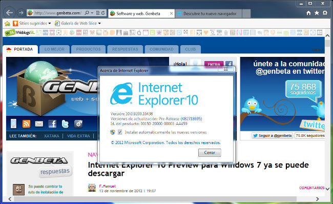 Internet Explorer 10 Preview para Windows 7