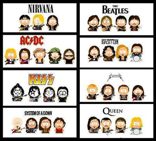 Rock ledzeppelin thebeatles ac dc kiss metallica soad